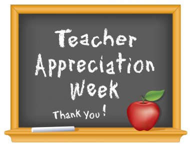 Teacher Appreciation Week Chalkboard, Thank You! Apple