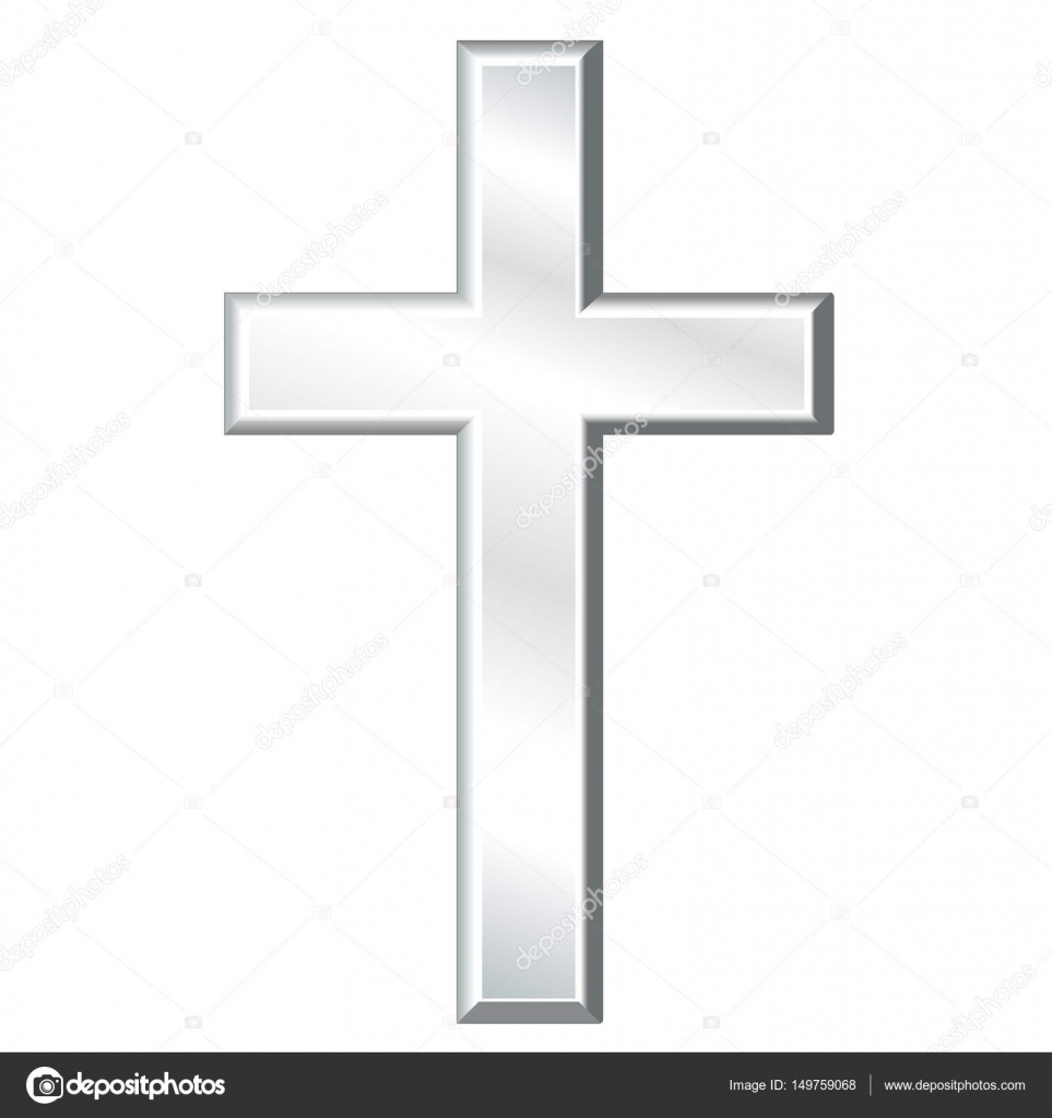 Christian Cross Symbol Of Christianity Silver Stock Vector