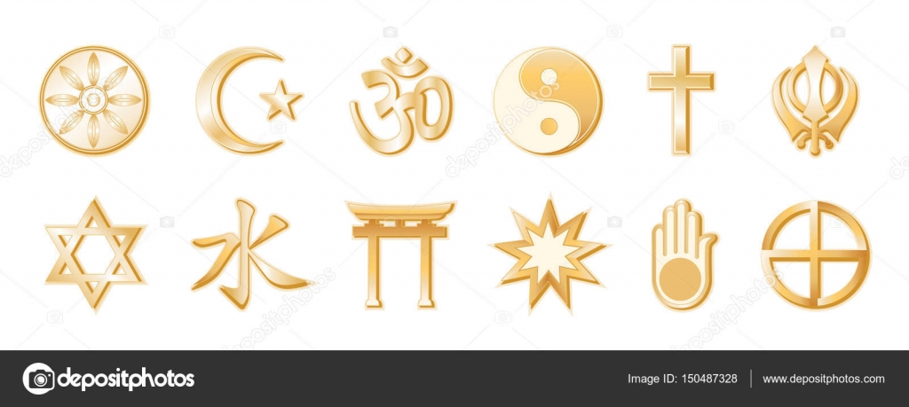 Religions and faiths of the world gold symbols white background religions and faiths of the world gold symbols white background stock vector biocorpaavc Images