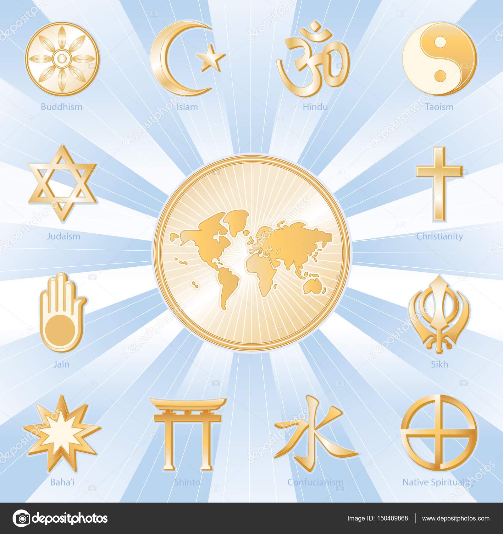 World of faith international religions poster sky blue gold symbols of twelve international religions surround world map buddhism islam hindu taoism christianity sikh native spirituality medicine wheel buycottarizona