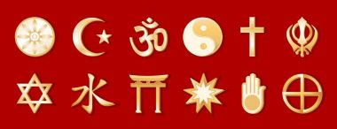 Religions and Faiths of the World, Gold Symbols, Red Background