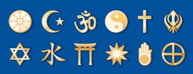 Religions and Faiths of the World, Gold Symbols, Blue Background