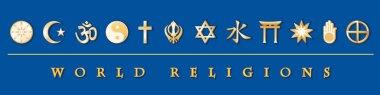 World Religions Banner, Gold Symbols, Blue Background