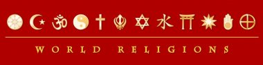 Gold icons of twelve world religions on red banner: Buddhist, Islam, Hindu, Tao, Christianity, Sikh, Judaism, Confucianism, Shinto, Baha'i, Jain, Native Spirituality. EPS8 compatible. stock vector