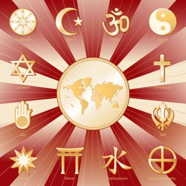 World of Faith, International Religions Poster, Crimson and Gold