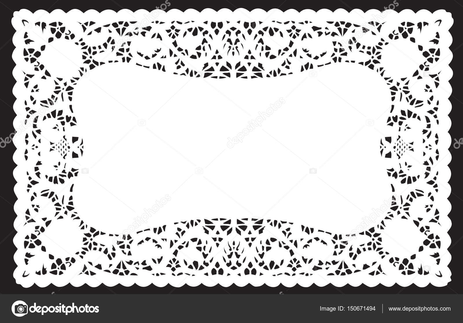 lace doily place mat scallop edge white stock vector