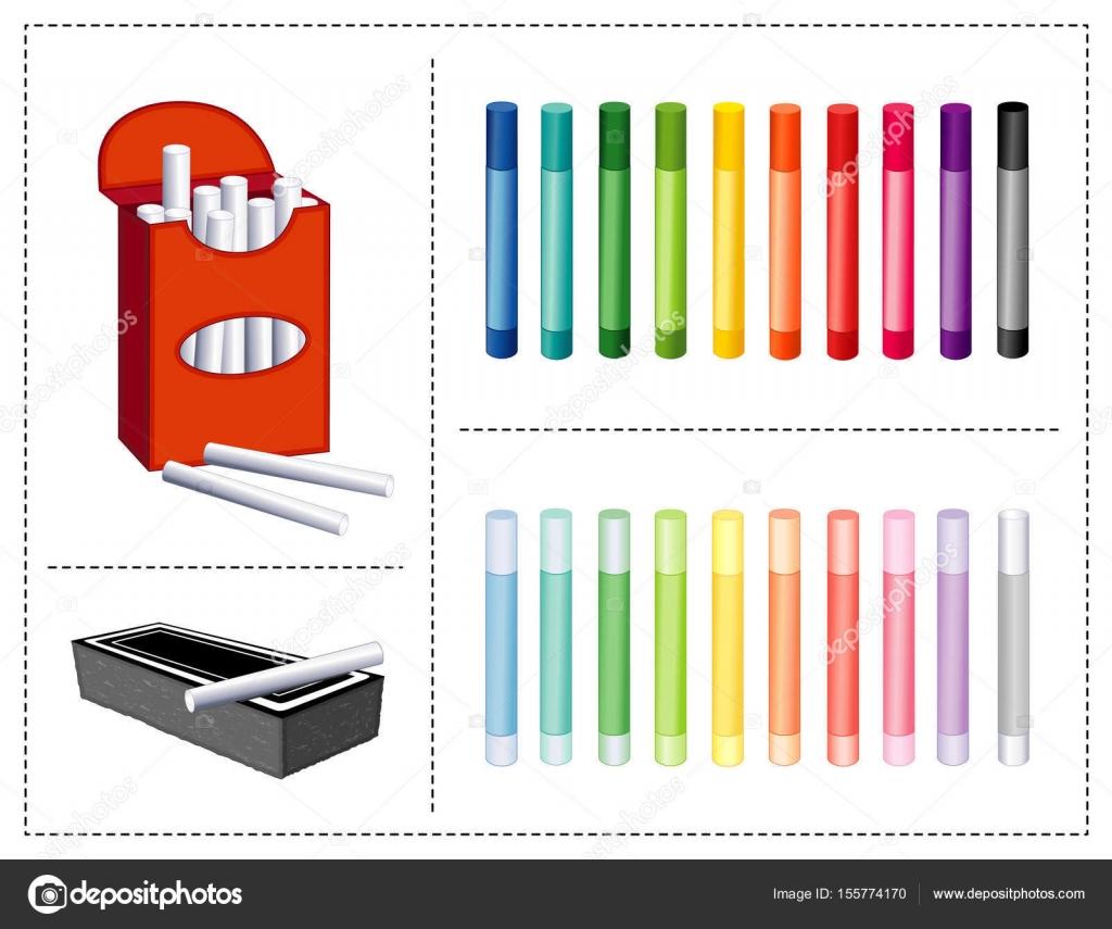 chalk collection box eraser twenty colors stock vector