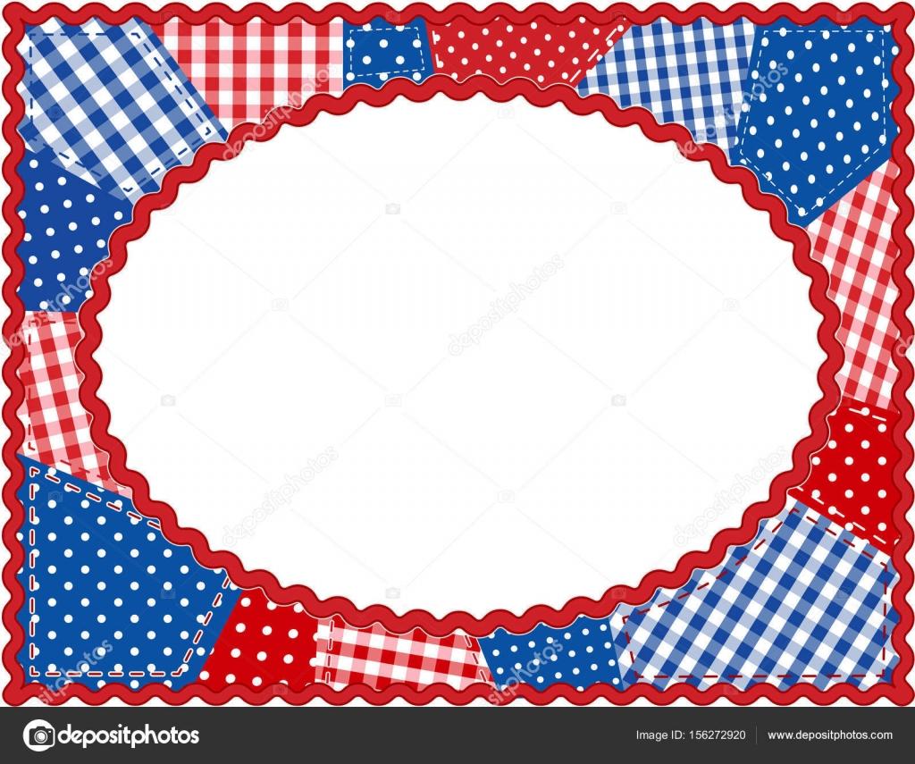 Patchwork Quilt Frame, Patriótico rojo, blanco y azul, espacio de ...