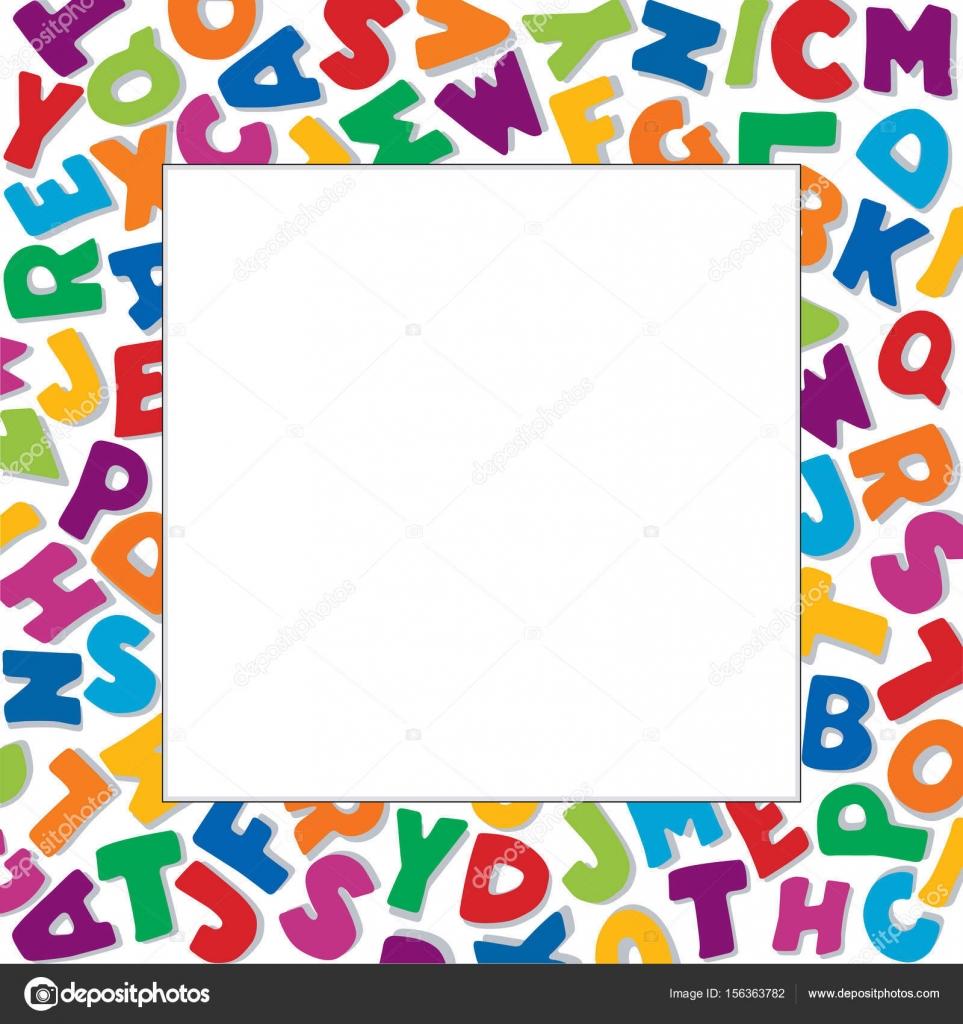 Marco de alfabeto, fondo blanco, Plaza — Archivo Imágenes ...