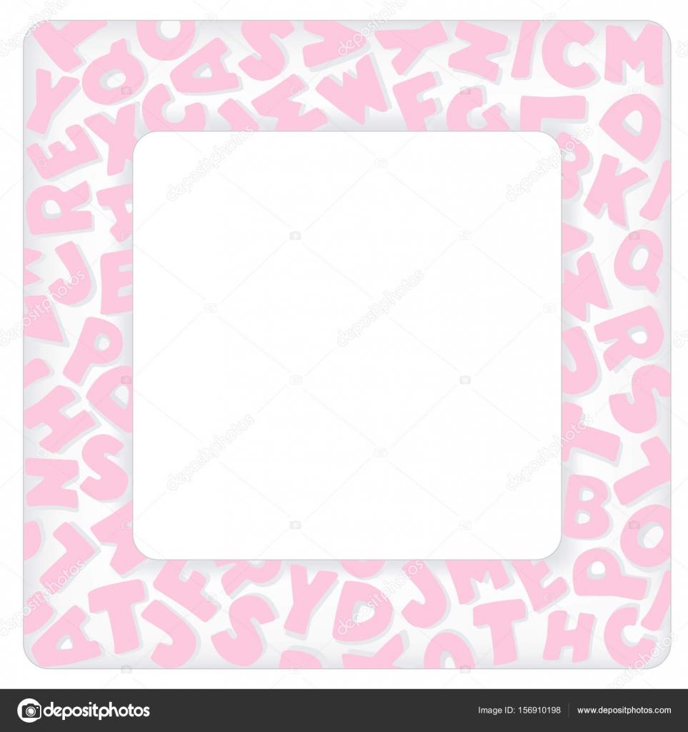 Marco de alfabeto de vivero, bebé rosa Pastel — Vector de stock ...