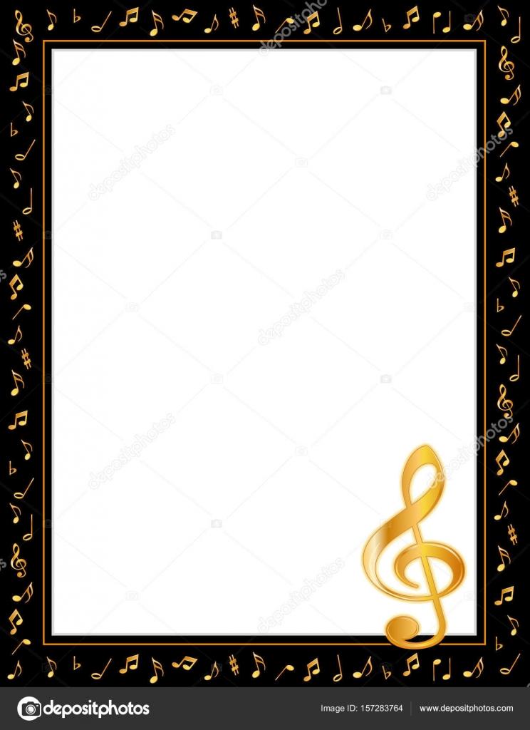 Musik Poster Bilderrahmen, goldene Noten und Violinschlüssel ...