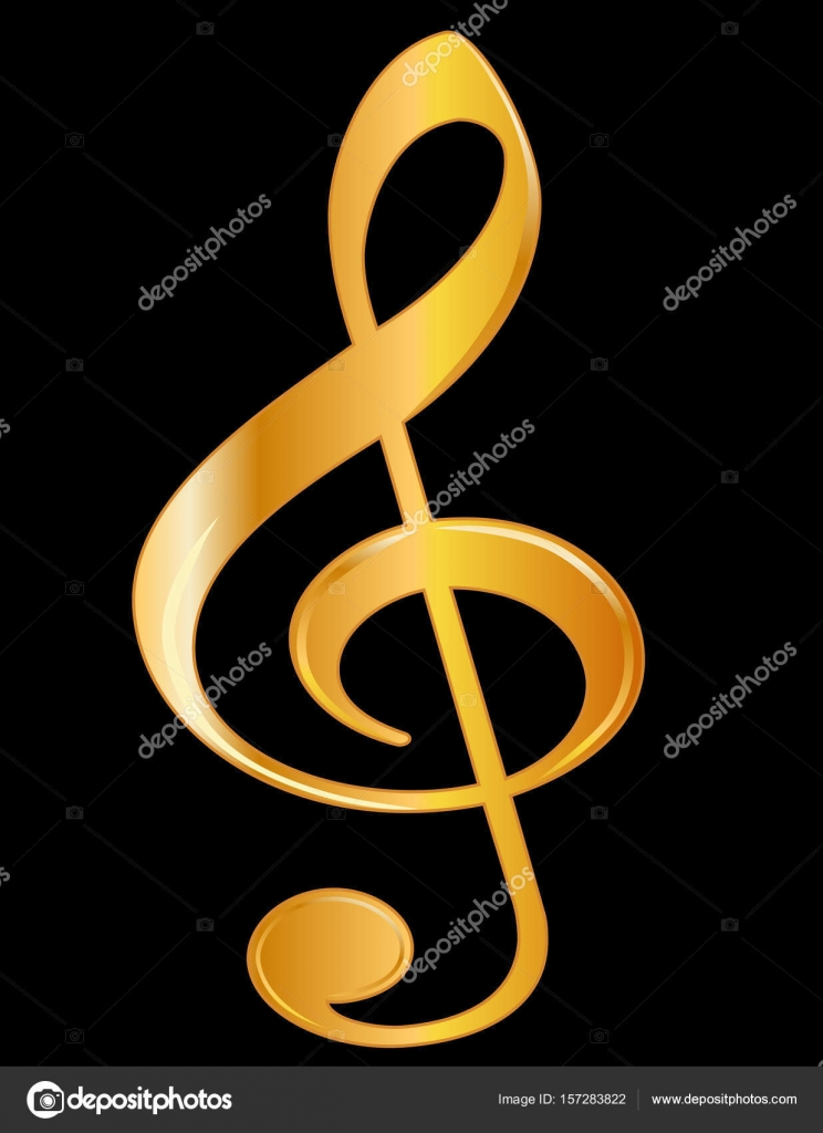 Treble Clef Golden Music Black Background Stock Vector