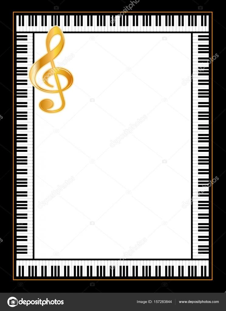 Marco del cartel música de piano, clave de sol de oro — Archivo ...