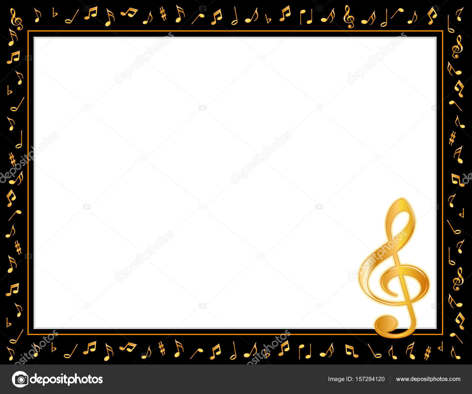Music Poster Frame, Golden Notes and Treble Clef — Stock Vector ...