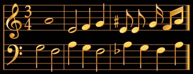 Music Notes, Gold on Black Background