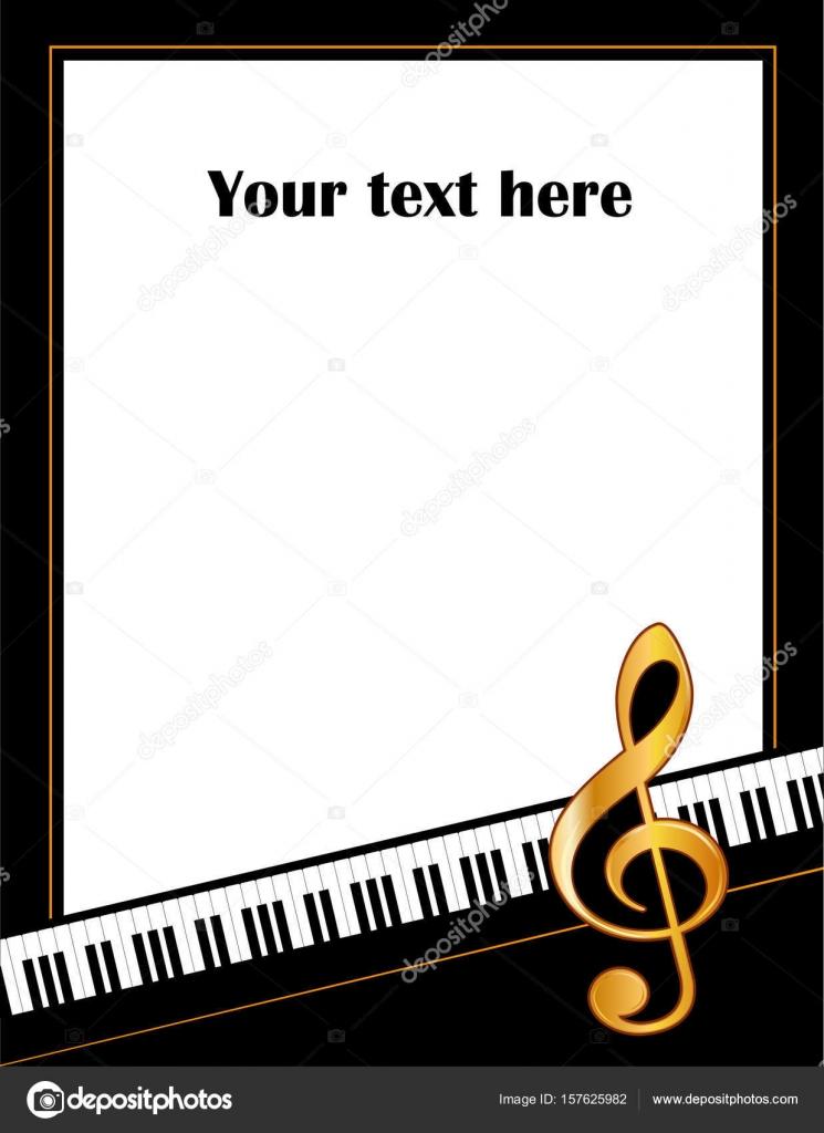Marco del cartel música entretenimiento, teclado Piano, Treble Clef ...