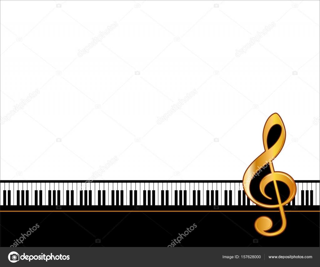 Música entretenimiento cartel marco, teclado de Piano, clave de sol ...