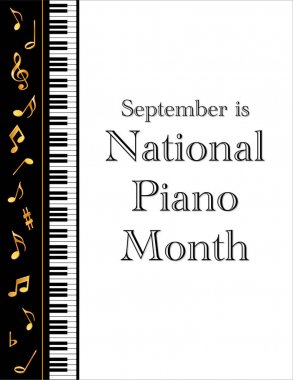 Piano Month Poster, September National USA Holiday, Keyboard, Gold Treble Clef, White Background