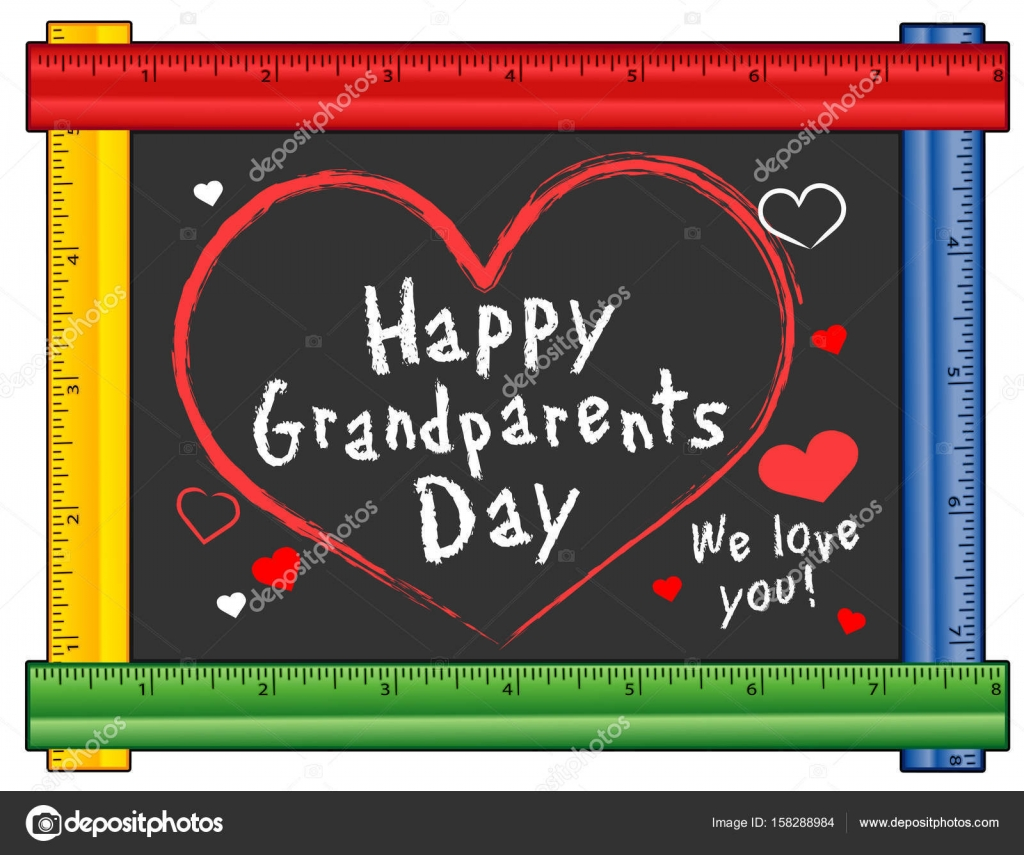 Grandparents Day, We Love You! Hearts and Kisses on Ruler Frame ...