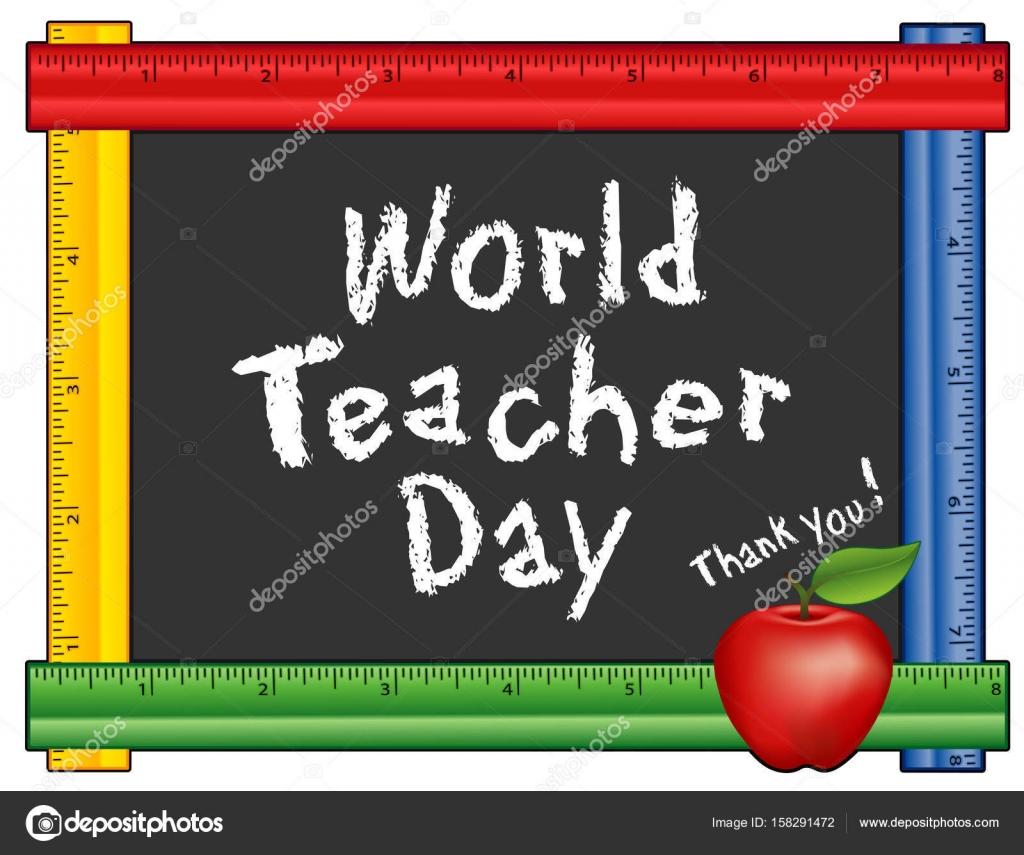 Welt-Lehrer-Tag, danke! Tafel mit Lineal Rahmen, Apple für den ...