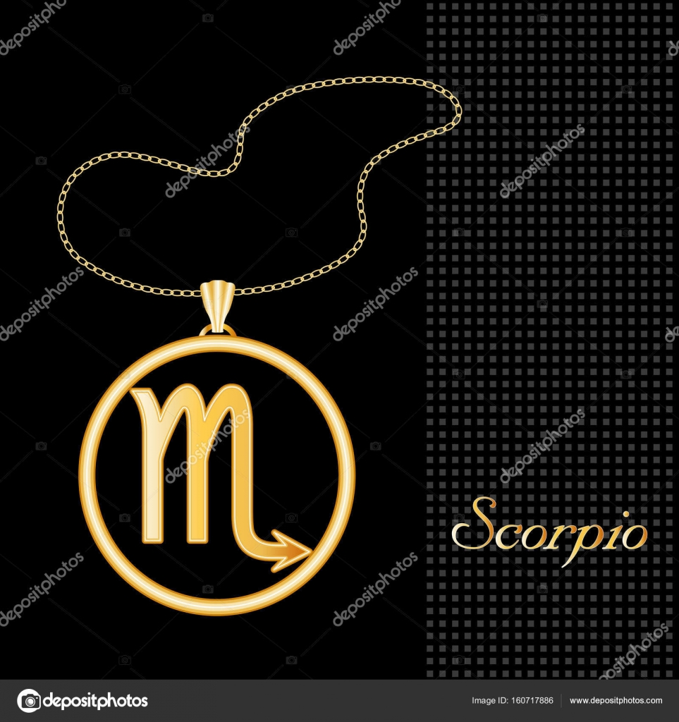 Scorpio Horoscope Jewelry Necklace Pendant — Stock Vector