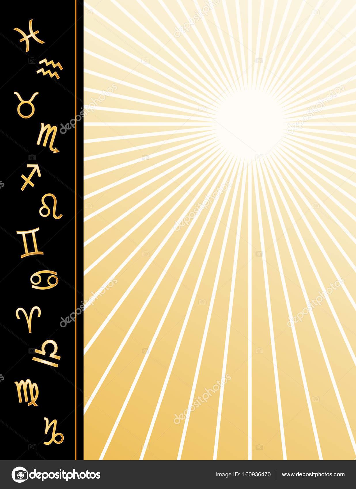 Horoscope Poster Twelve Gold Astrology Sun Sign Symbols Stock