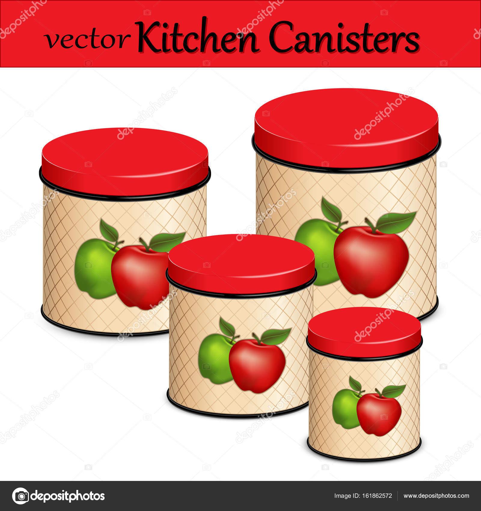 Küche Lebensmittel Lagerung Kanister Set, Red und Green Apple Design ...