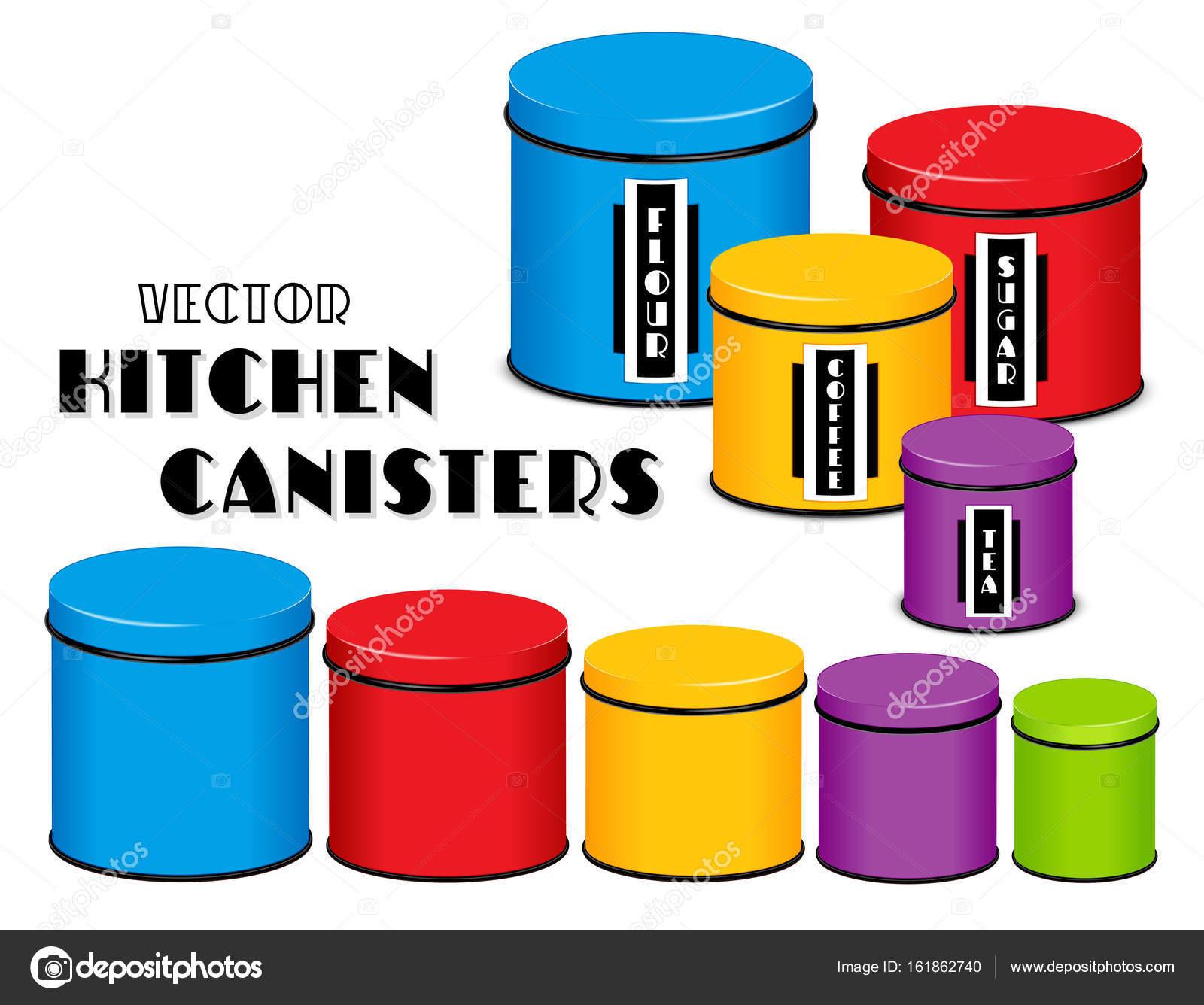 Küche Lebensmittel Lagerung Kanister Set, Art-Deco-Etiketten, Mehl ...