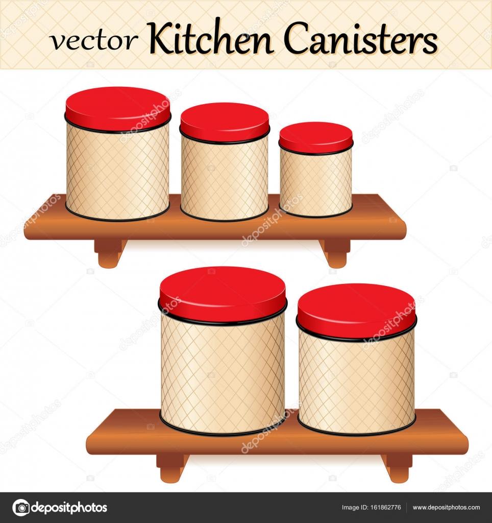 Küche Lebensmittel Lagerung Kanister Set auf Holz Regale, Gitter ...