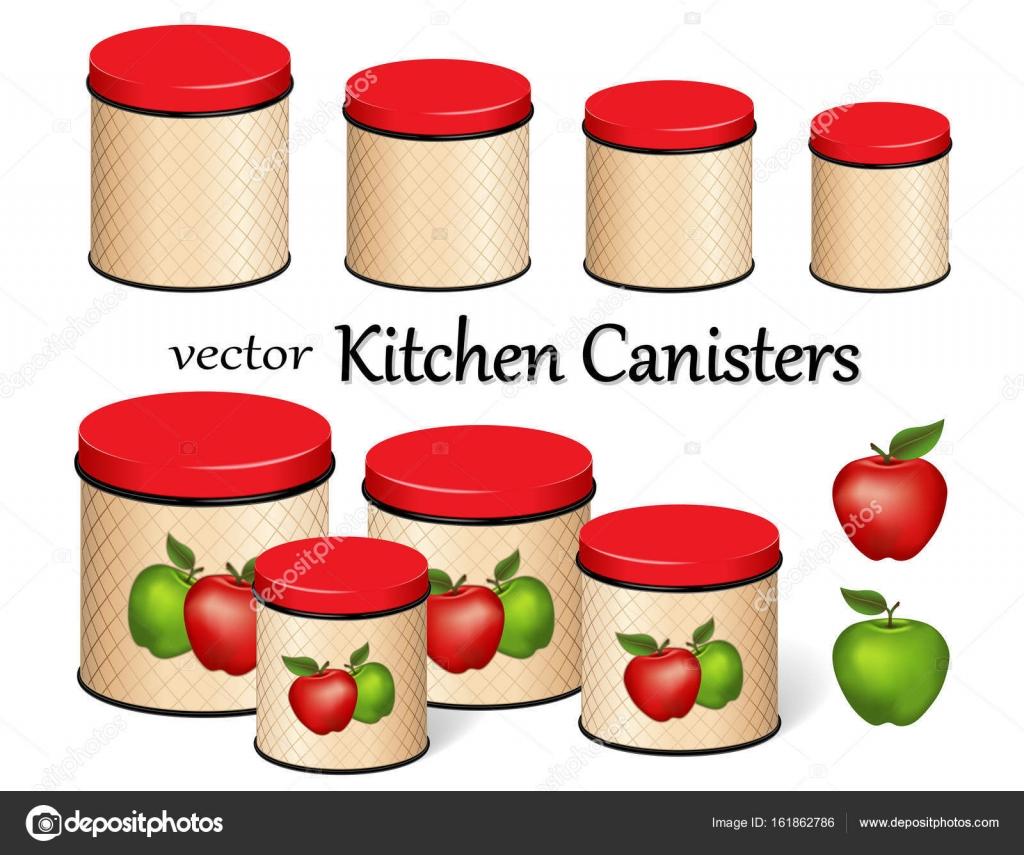 Küche Lebensmittel Lagerung Kanister Set, rote und grüne Äpfel ...