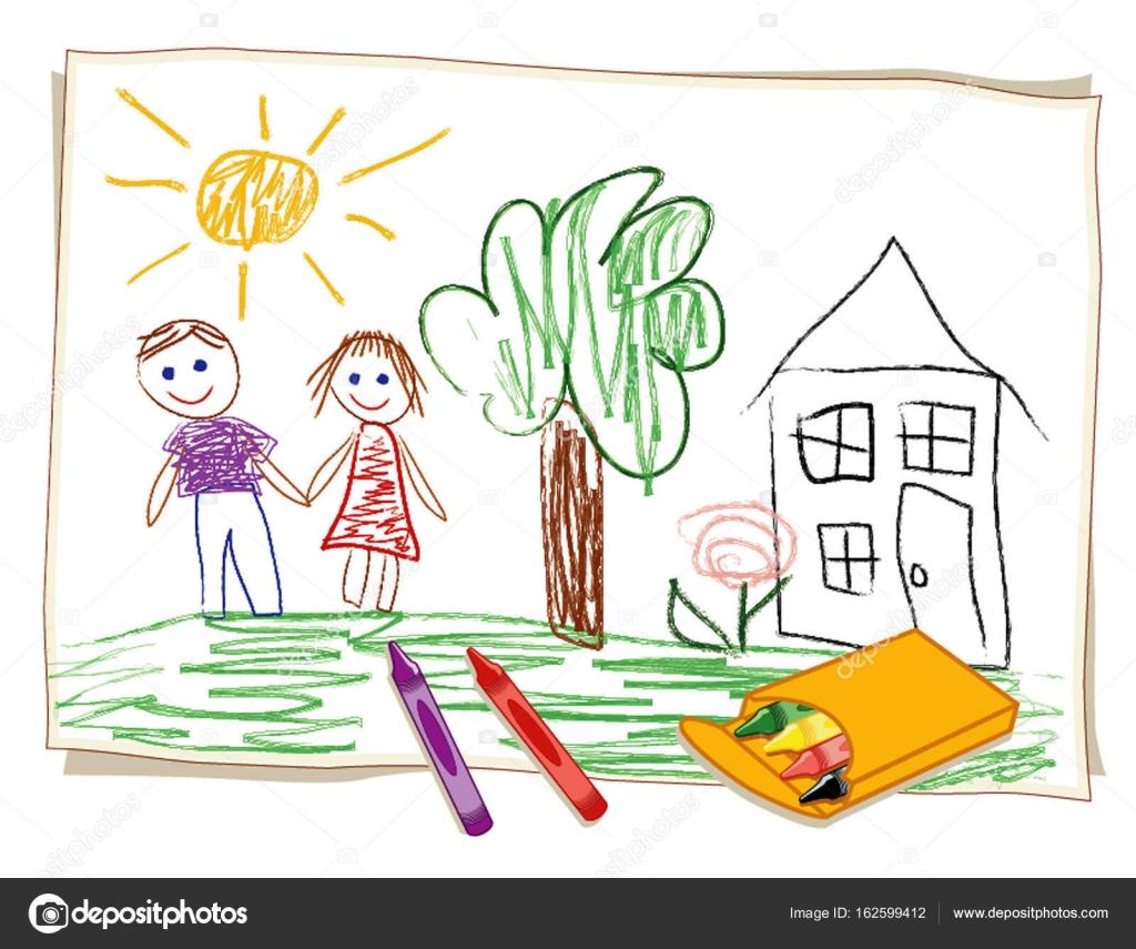 De L Enfant Dessin Colorie Happy Girl Et Boy Maison Et Jardin