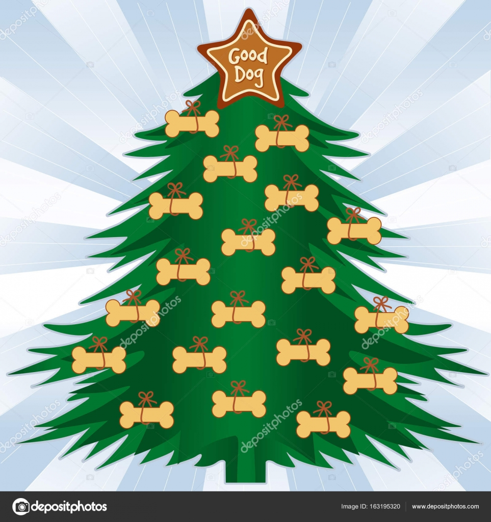 Christmas tree with dog bone treats. Good dog gingerbread star ornament on top, blue ray background. EPS8 compatible. — Vector by casejustin