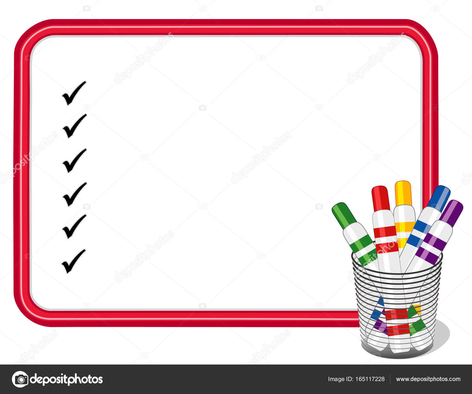 whiteboard checklist with marker pens in desk organizer copy space