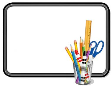 Whiteboard with Office Supplies in Desk Organizer, Copy Space