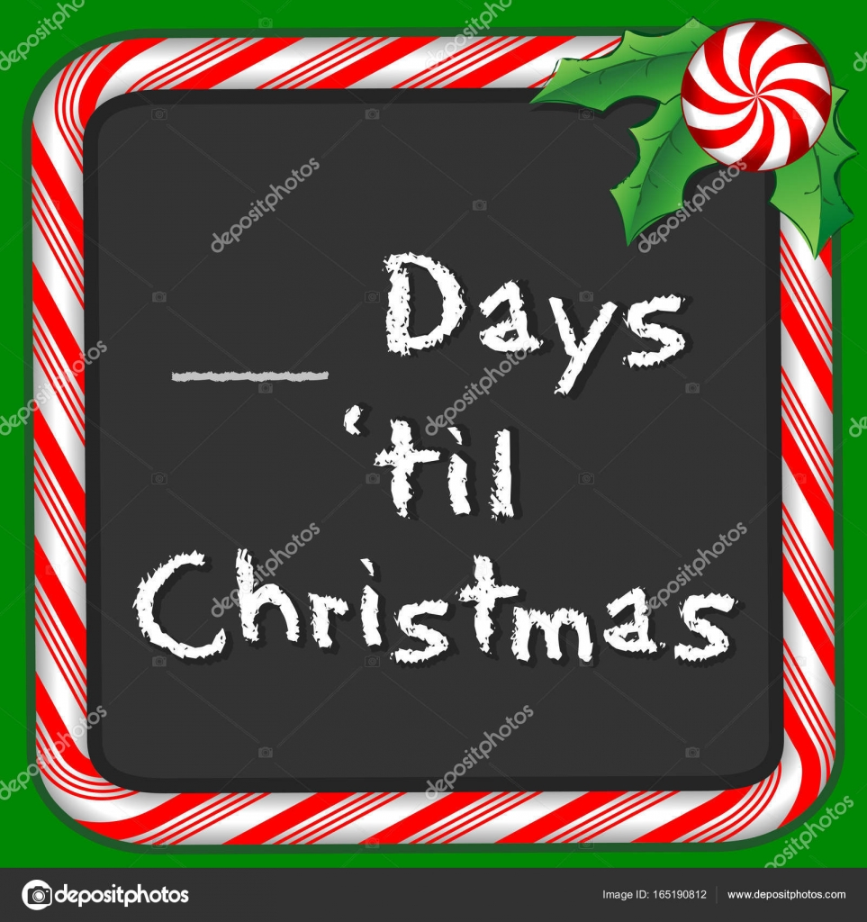 Count the Days until Christmas Holiday Chalkboard, Peppermint Candy ...