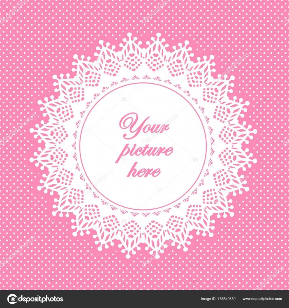 Spitzen-Deckchen-Bilderrahmen, Pastell rosa gepunkteten Hintergrund ...