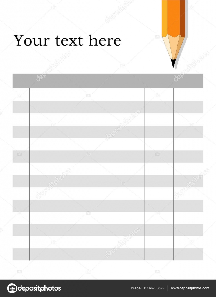 invoice form checklist fill in the blanks pencil stock vector