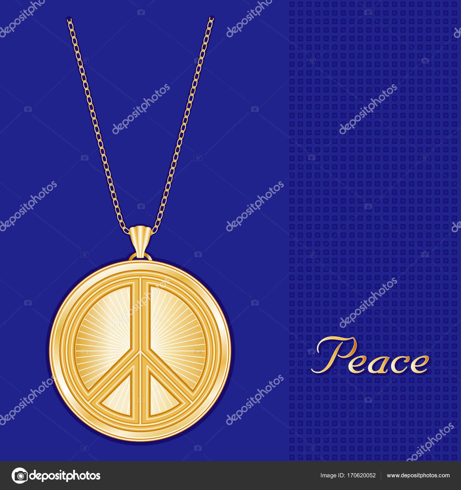 Peace Symbol Gold Pendant Necklace Chain Stock Vector