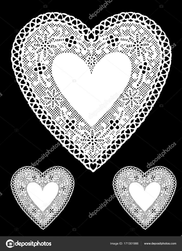 Corazones Vintage Blanco Y Negro Tapetitos De Corazón De Encaje