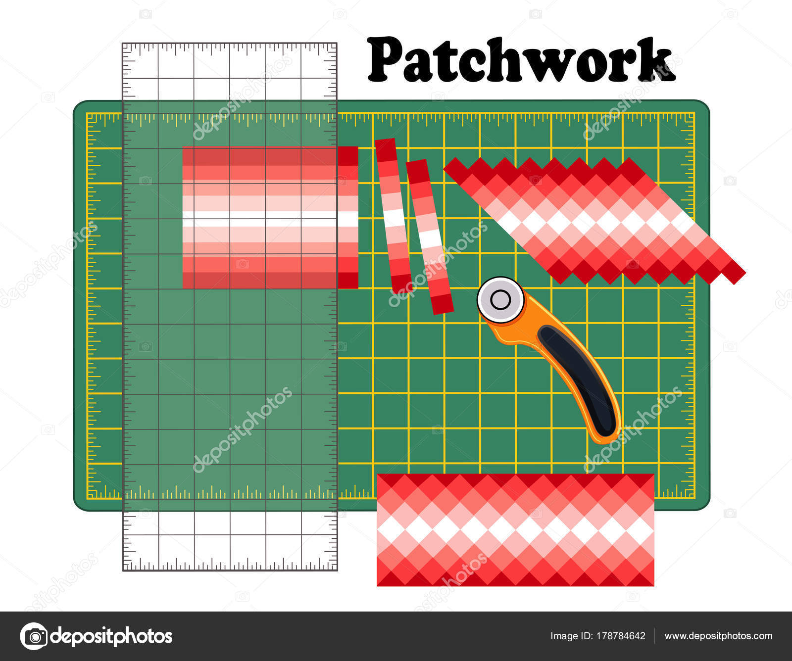 Patchwork diy cutting mat quilters ruler rotary blade cutter strip patchwork diy cutting mat quilters ruler rotary blade cutter strip piece design pattern cut fabric into strips reorganize strips into patterns solutioingenieria Image collections