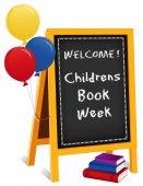 Kinderbuchwoche, erste Maiwoche, Kreidetext auf Staffelei, Luftballons, Bücherstapel, für Schulen, Bibliotheken und Buchhandlungen, isoliert auf weißem Hintergrund.
