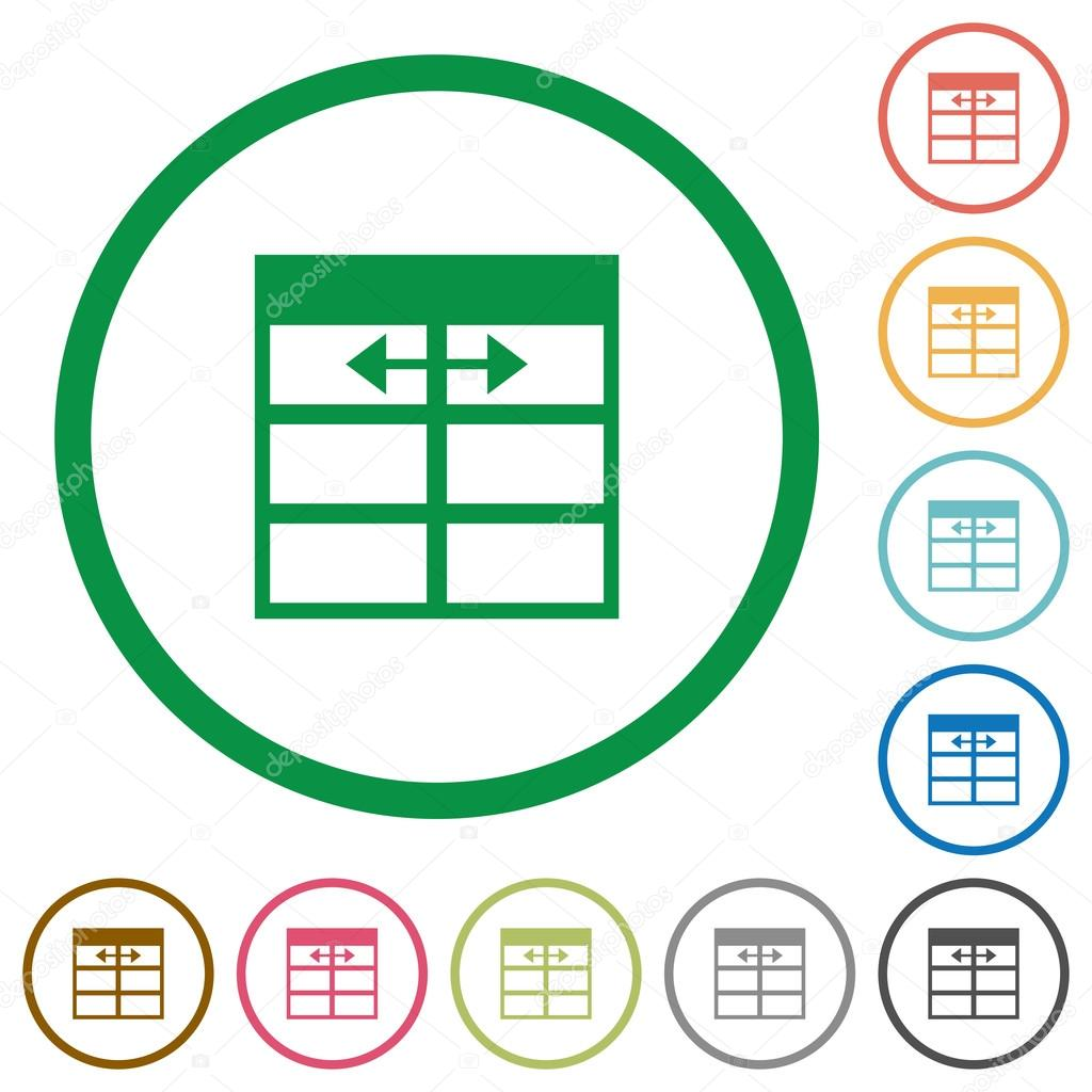 Set of Spreadsheet adjust table column width color round outlined flat icons on white background \u2014 Vector by renegadehomie  sc 1 st  Depositphotos & Spreadsheet adjust table column width outlined flat icons \u2014 Stock ...