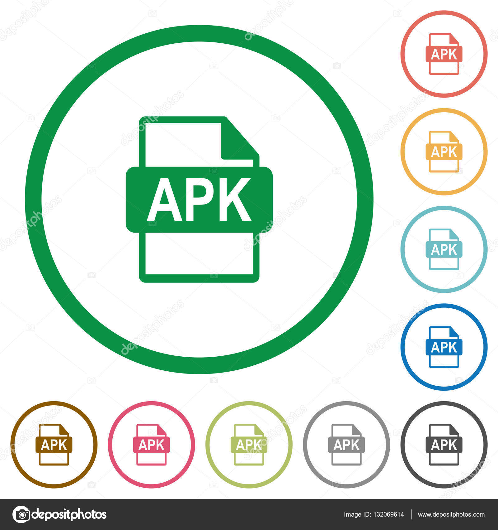 APK file format flat icons with outlines — Stock Vector