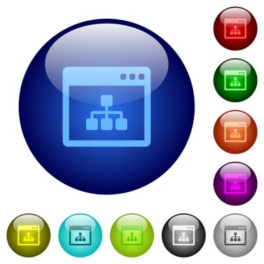 Networking application color glass buttons