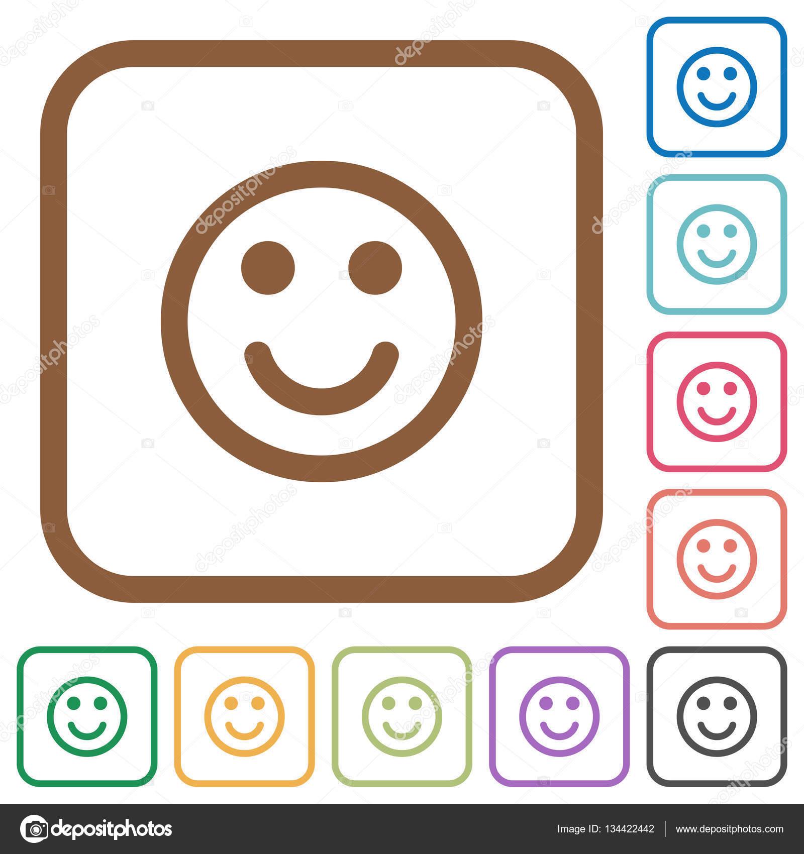 44ad095229 Sonriente emoticon iconos simples — Vector de stock © renegadehomie ...