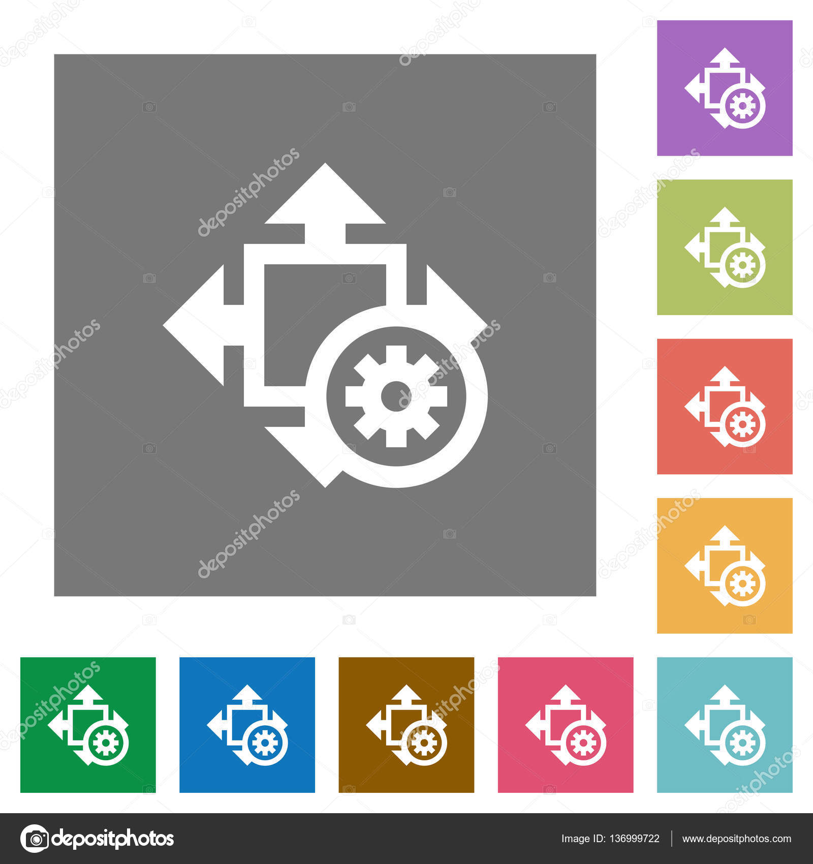 Ajustes de tamaño cuadrado planos iconos — Archivo Imágenes ...