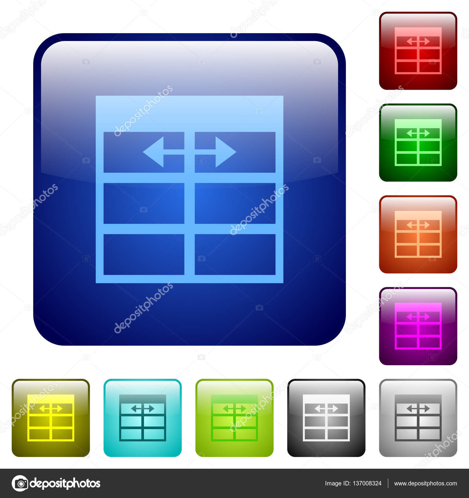 Spreadsheet adjust table column width icons in rounded square color glossy button set \u2014 Vector by renegadehomie  sc 1 st  Depositphotos & Spreadsheet adjust table column width color square buttons \u2014 Stock ...