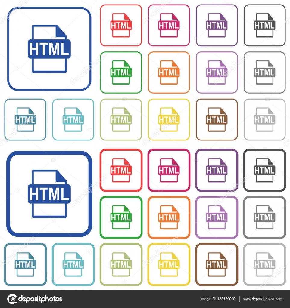 Formato de archivo HTML indica los iconos de color plano — Archivo ...