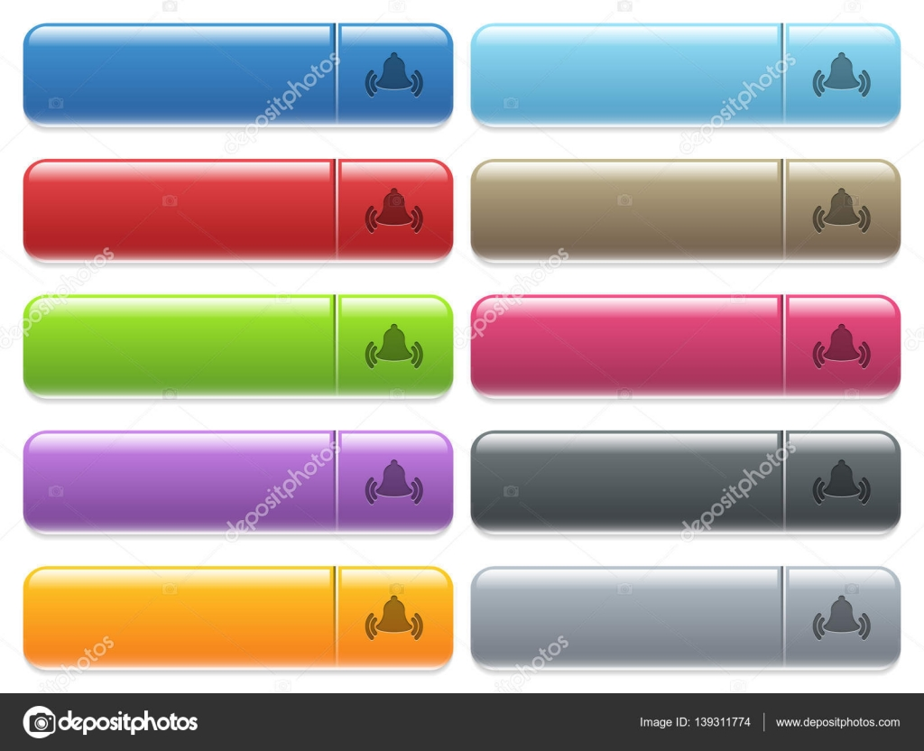 Timbre campana los iconos de color brillante, rectangular botón ...