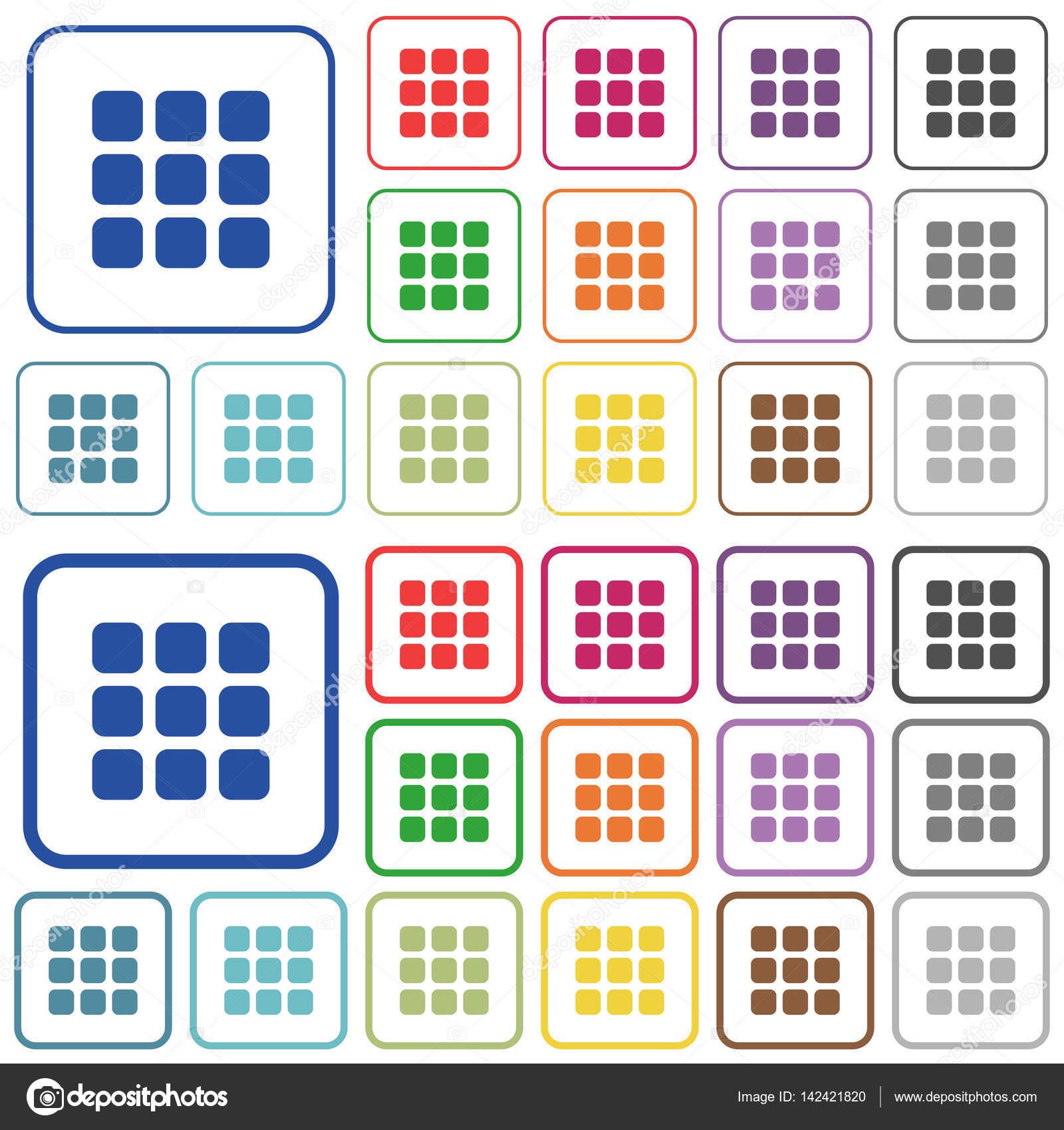 Kleinen thumbnail-Ansicht-Modus beschrieben flache farbige icons ...